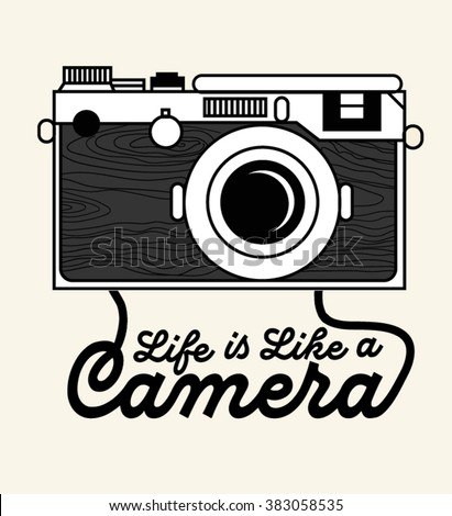 Vector vintage hipster camera with mountains. Take great pictures. Romantic inspirational trendy typography illustration. Home decoration, retro poster - stock vector