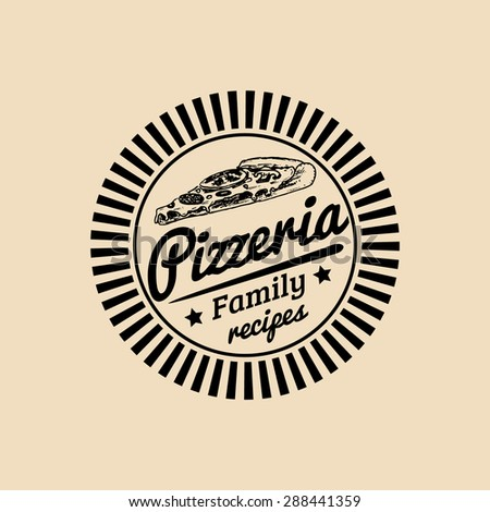 Vector vintage hipster italian food logo. Modern pizza sign. Hand drawn mediterranean cuisine illustration. Traditional southern europe meal sketch in ink style. Pizzeria icon. - stock vector