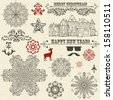 vector vintage holiday  design elements  and snowflakes, fully editable eps 10 file, standard AI fonts - stock