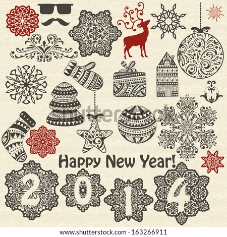 vector vintage holiday  design elements  and snowflakes, fully editable eps 10 file, standard AI fonts - stock vector