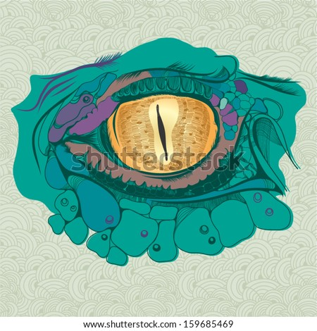 "Vector vintage illustration""Crocodile's Eye"". - stock vector"