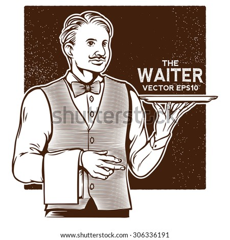 vector vintage illustration of waiter bring the serving tray - stock vector