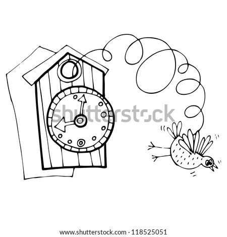 Vector vintage illustration with clock and bird - stock vector