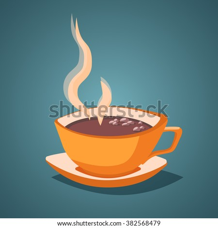 Vector vintage illustration with isolated cup of cacao