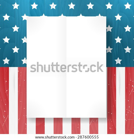 Vector vintage independence 4 July american flag on wood background. Vector illustration. Layered. - stock vector
