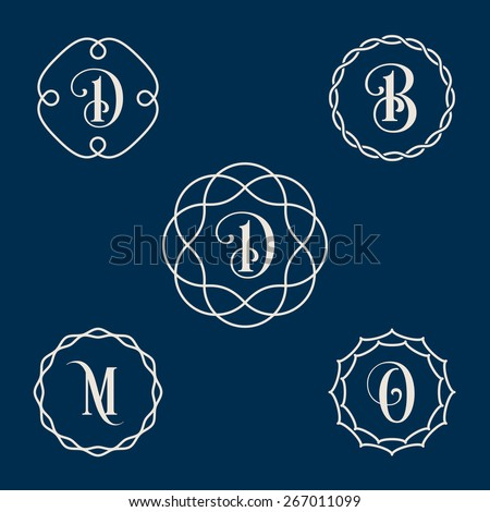 Vector vintage insignia, monogram, frame, label design template in line style. - stock vector