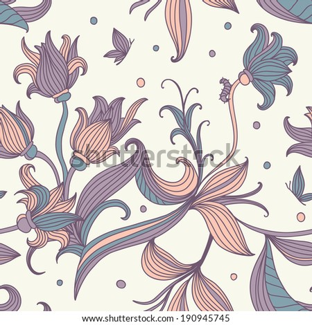 Vector vintage inspired seamless floral pattern with colorful flowers - stock vector