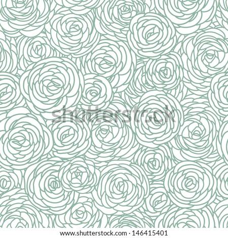 Vector vintage inspired seamless floral pattern with roses - stock vector