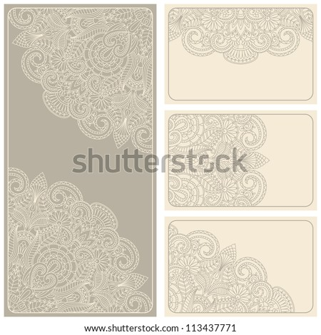 Vector vintage invitation card set with lace pattern. - stock vector