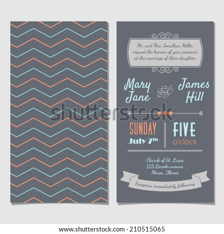 Vector Vintage Invitation card with background zigzag, letters, type, ribbons and heart. Easy to edit  - stock vector