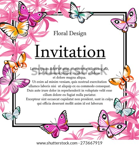 Vector vintage invitation card with frame of exotic flowers and butterflies. - stock vector