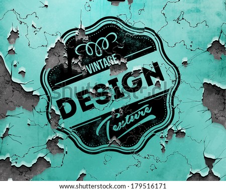 Vector vintage label on cracked background - stock vector