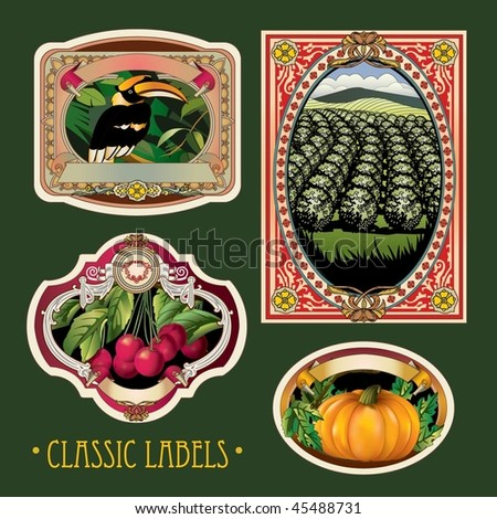 Vector Vintage Labels - stock vector
