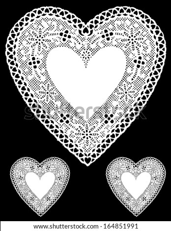 vector - Vintage Lace Heart Doilies. Antique design with copy space for Valentine's Day, Mothers Day, anniversary, birthday, albums, scrapbooks, cake decorating. Isolated on black background. - stock vector
