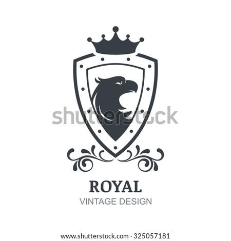Vector vintage logo design template. Eagle, crown, shield and laurel wreath symbol. Luxury emblem for boutique, hotel, restaurant, heraldic. - stock vector
