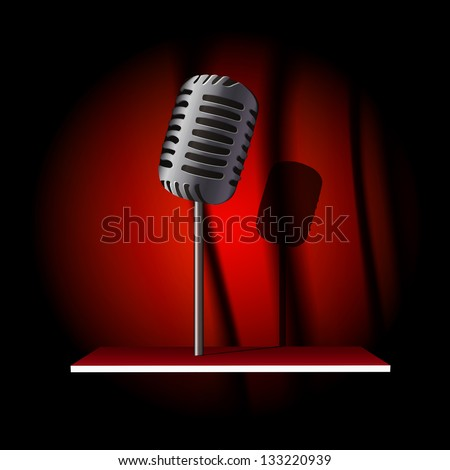 Vector vintage mic on bookshelf over red curtain - stock vector
