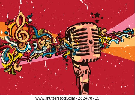 Vector vintage microphone on graffiti background - stock vector