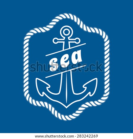vector vintage nautical label, icon and design element - stock vector