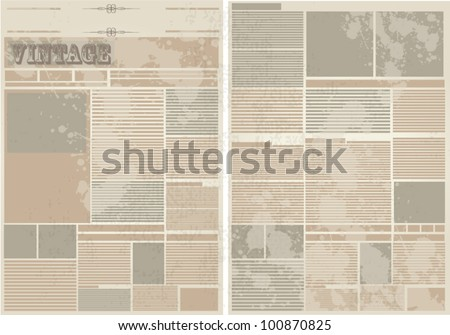 Vector Vintage Newspaper Background - stock vector