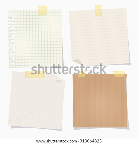 Vector vintage note papers with adhesive tape on white background. - stock vector