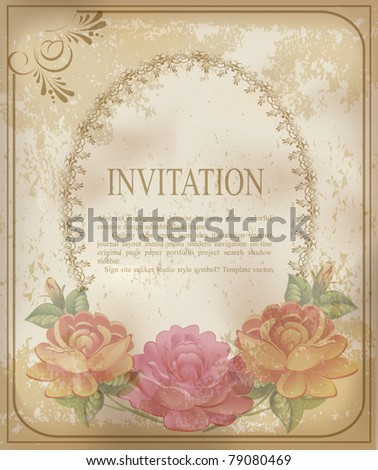vector vintage old background with  roses on a faded paper - stock vector