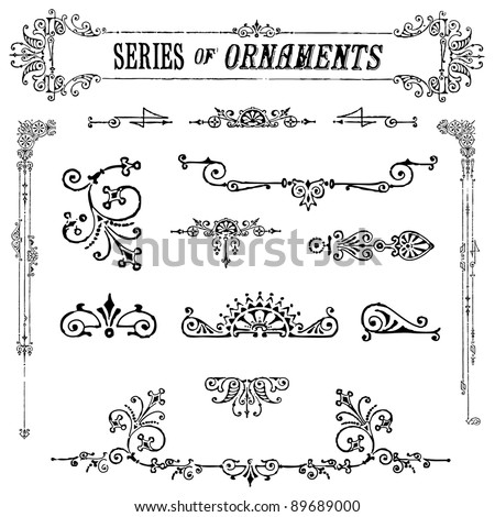 Vector Vintage Ornament Set. Easy to edit. Perfect for invitations or announcements. - stock vector