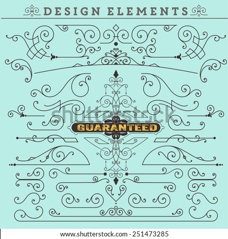 Vector. Vintage Ornaments Decorations Design Elements.  Vector stock - stock vector