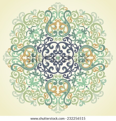 Vector vintage pattern in Victorian style. Ornate element for design. Ornamental pattern for wedding invitations, greeting cards. Traditional green decor. - stock vector