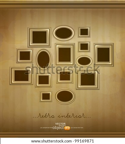 vector, vintage  picture frames hanging on the wall - stock vector