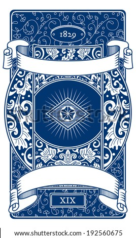 Vector vintage playing cards back design, floral ornamental drawing on blue - stock vector