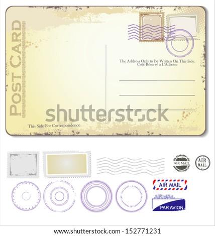 Vector vintage postcard - stock vector