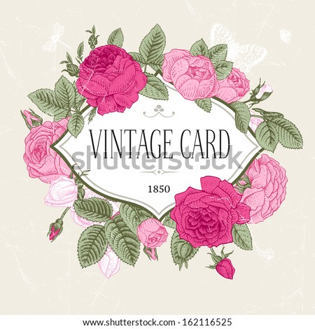 Vector vintage postcard. Frame of blooming pink roses on a gray background. - stock vector