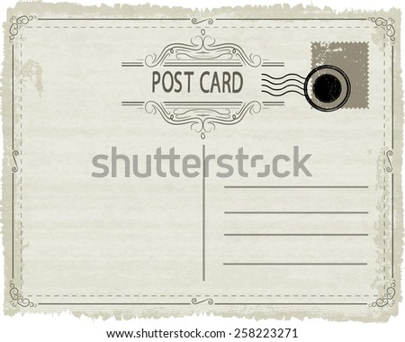 Vector Vintage Postcard with Stamps, Postmark and Retro Decorative Border Frames . - stock vector