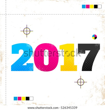 Vector vintage poster with 2017 in CMYK style.
