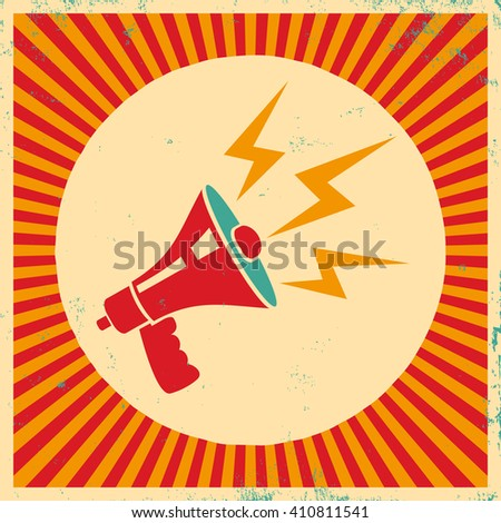 Vector vintage poster with retro megaphone - stock vector