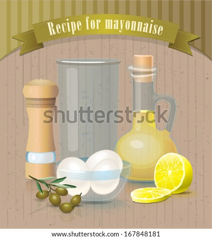 Vector vintage products for making mayonnaise
