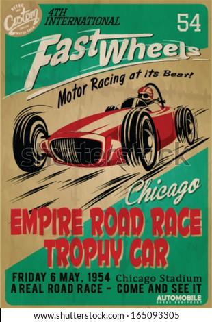 vector vintage race poster. - stock vector