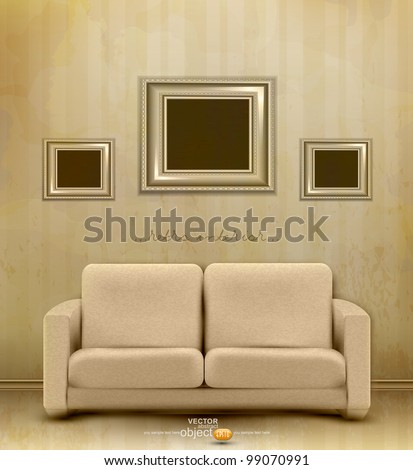 vector vintage retro interior with sofa and three frames for pictures on the wall - stock vector