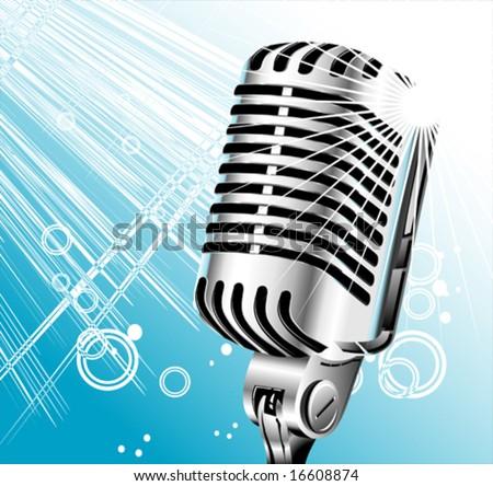 Vector vintage retro singer microphone - stock vector