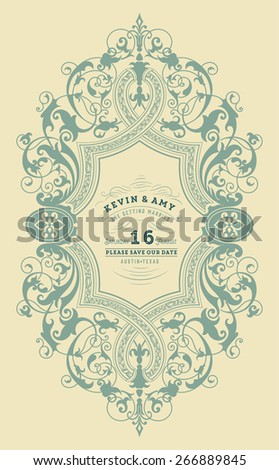 vector. vintage retro wedding card - stock vector