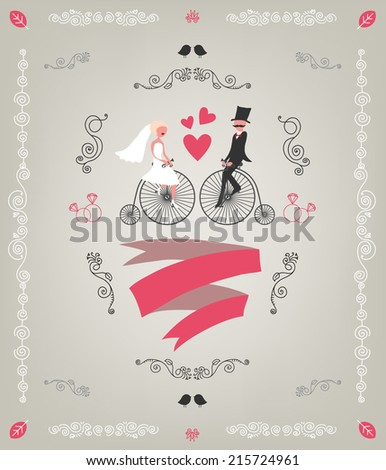 vector vintage retro wedding invitation, hand drawn design elements, groom and bride sitting on bicycles