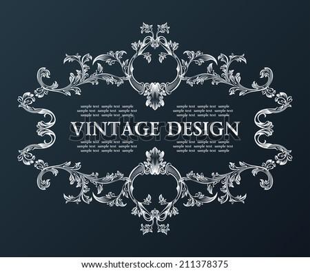 Vector vintage royal old frame ornament decor black illustration - stock vector