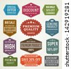 Vector vintage sale label set design elements Premium quality, discount, price illustrations. - stock vector