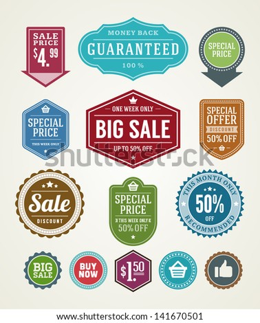 Vector vintage sale label set design elements Premium quality, discount, price illustrations.