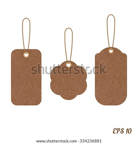 Vector vintage sale tags from grunge cardboard. Element for your designs, projects, promotional sales and other your projects. Just write your text. - stock vector