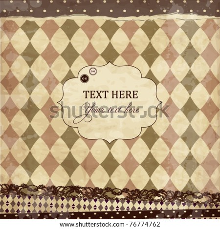 Vector vintage scrap card with rhombuses - stock vector