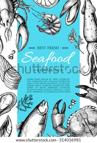 Vector vintage seafood restaurant flyer. Hand drawn banner. Great for menu, banner, flyer, card, seafood business promote. - stock vector