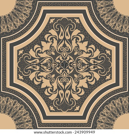 Vector vintage seamless pattern element. Elegant luxury texture for wallpapers, backgrounds and page fill. - stock vector