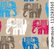 Vector vintage seamless pattern with elephants - stock vector