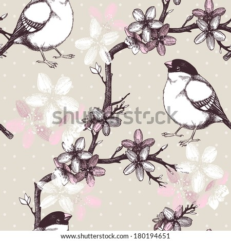 Vector vintage  seamless pattern with hand drawn blooming fruit tree twig  and birds. Spring flower illustration on background - stock vector